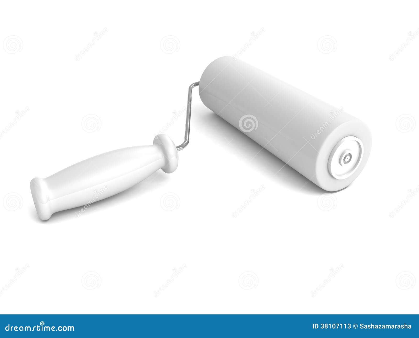 Pulisca il nuovo rullo di pittura su fondo bianco