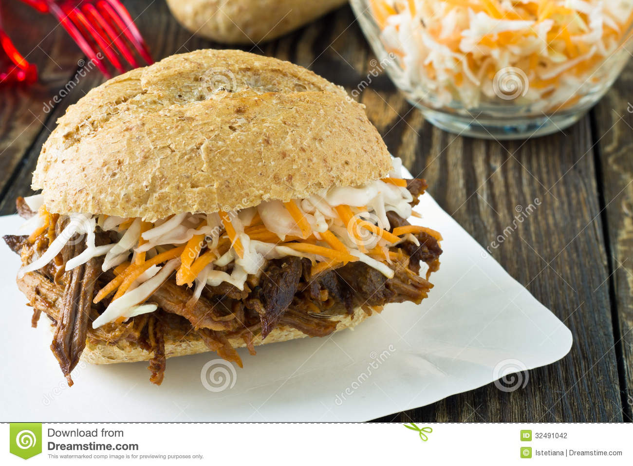 Pulled Pork Barbecue Sandwich With Cole Slaw Stock Photography - Image ...
