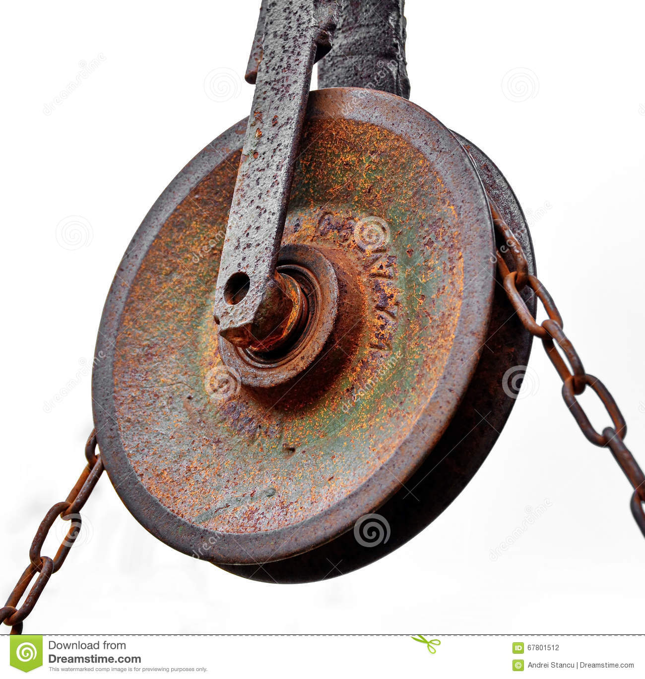 Pulley with chain stock photo image 67801512 for Uses for old pulleys