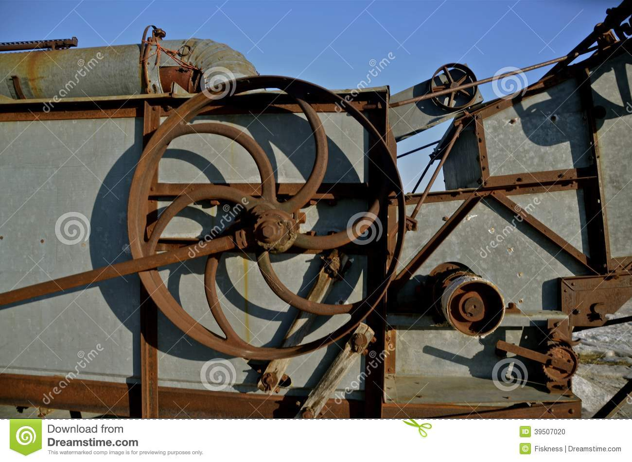 Download Pulley Of A Threshing Machine Stock Photo - Image of chaff, gears: 39507020