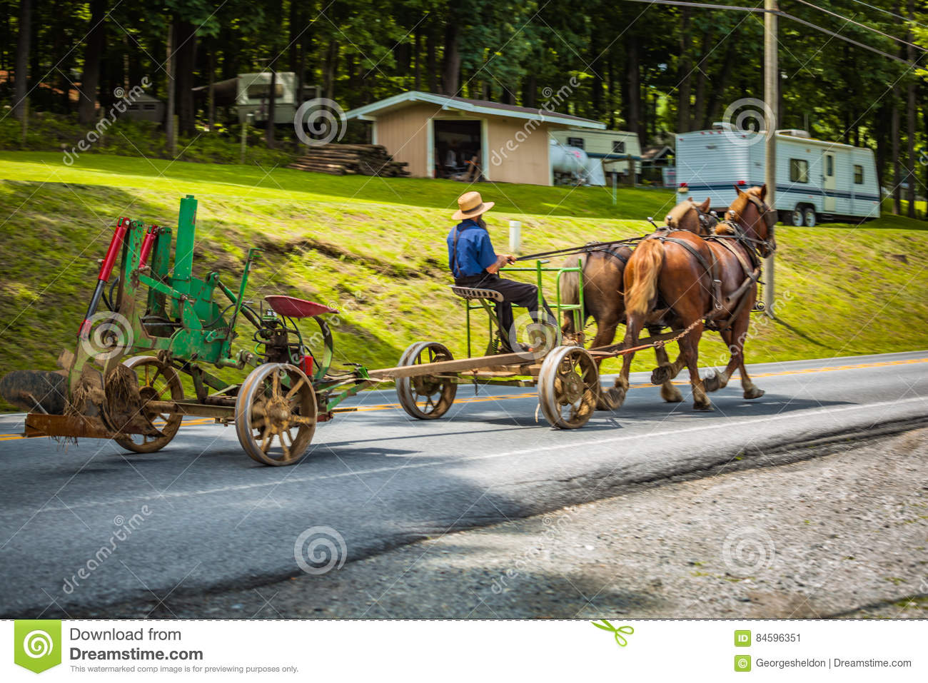 Pulling Plow On The Road With Horses Editorial Photo - Image
