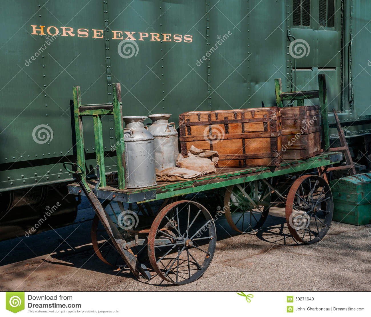 pullman horse express car and loader vintage 1930 stock photo