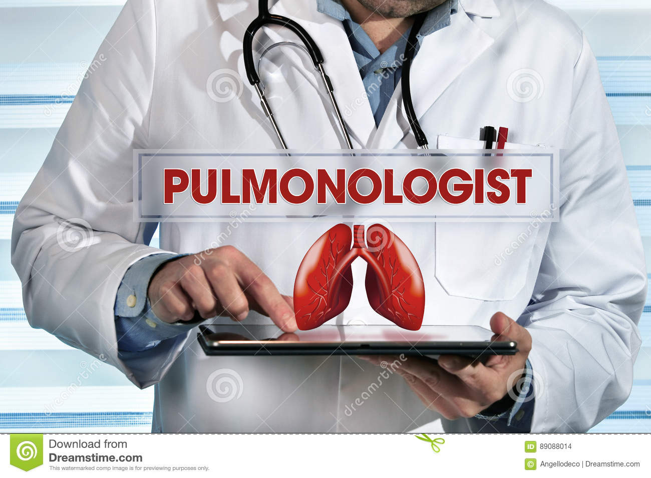 Pulmonologist working with tablet in hands in the lab with text
