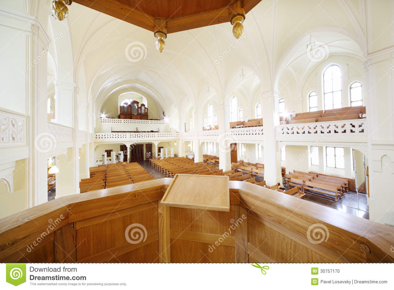 Pulpit for preacher in evangelical lutheran cathedral editor.