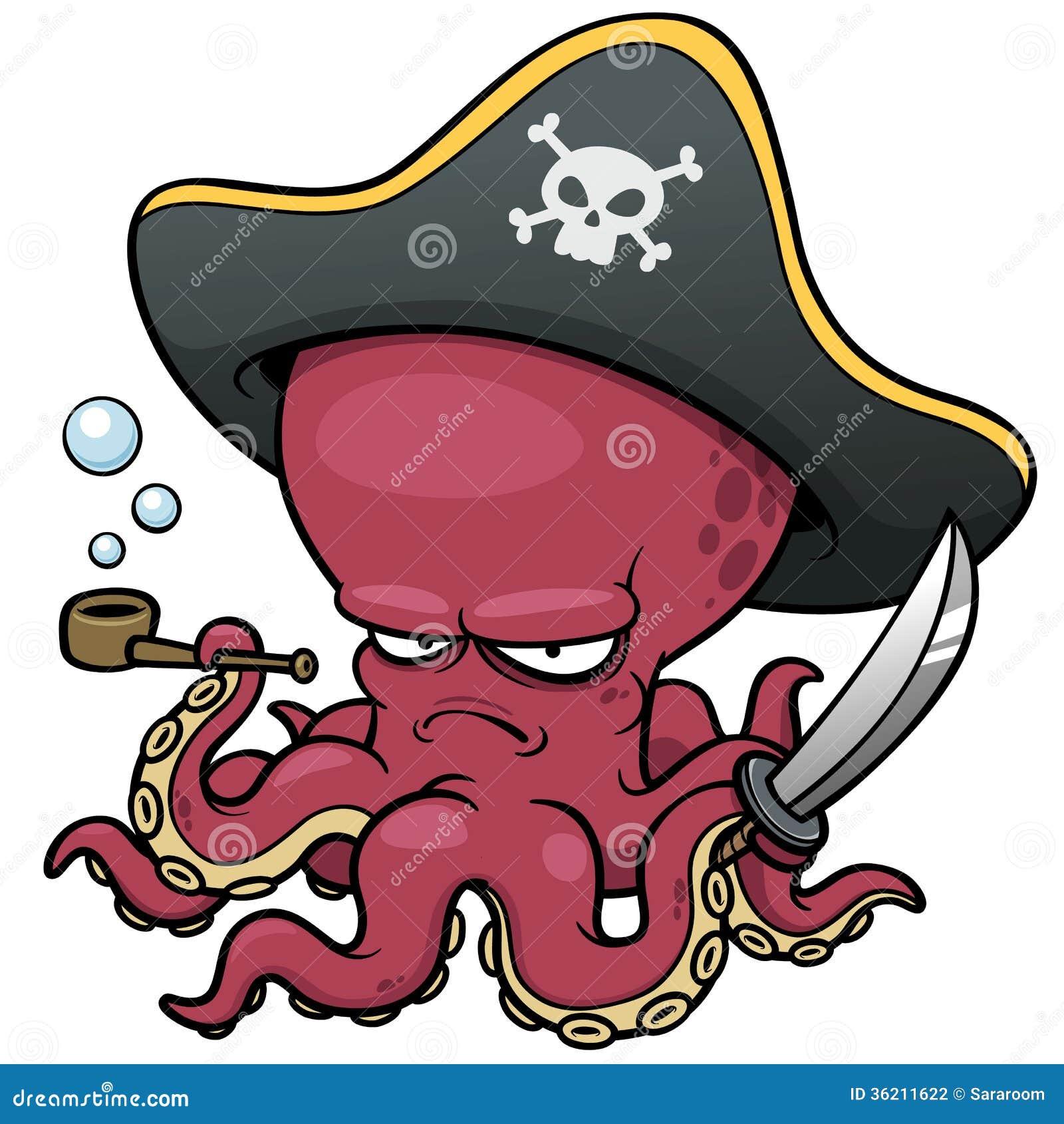 Pulpo del pirata de la historieta