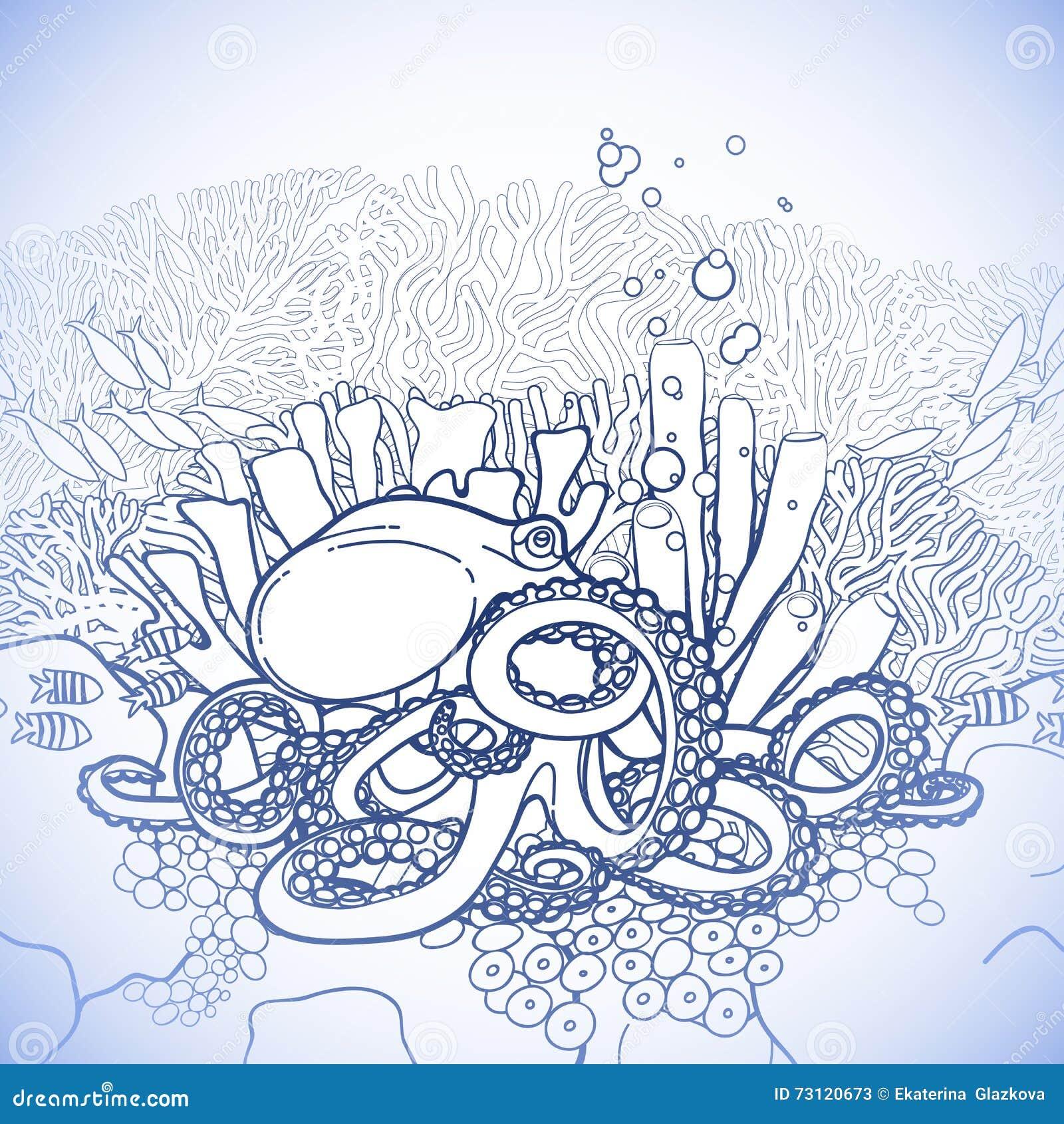 Pulpo Y Arrecife De Coral Gráficos Ilustración del Vector ...