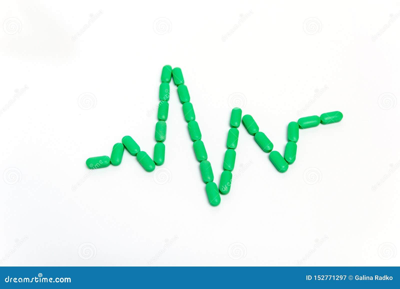 Puls jest zielonymi pigułkami Odizolowywać na białym tle poj?cie k?ama medycyny pieni?dze ustalonego stetoskop