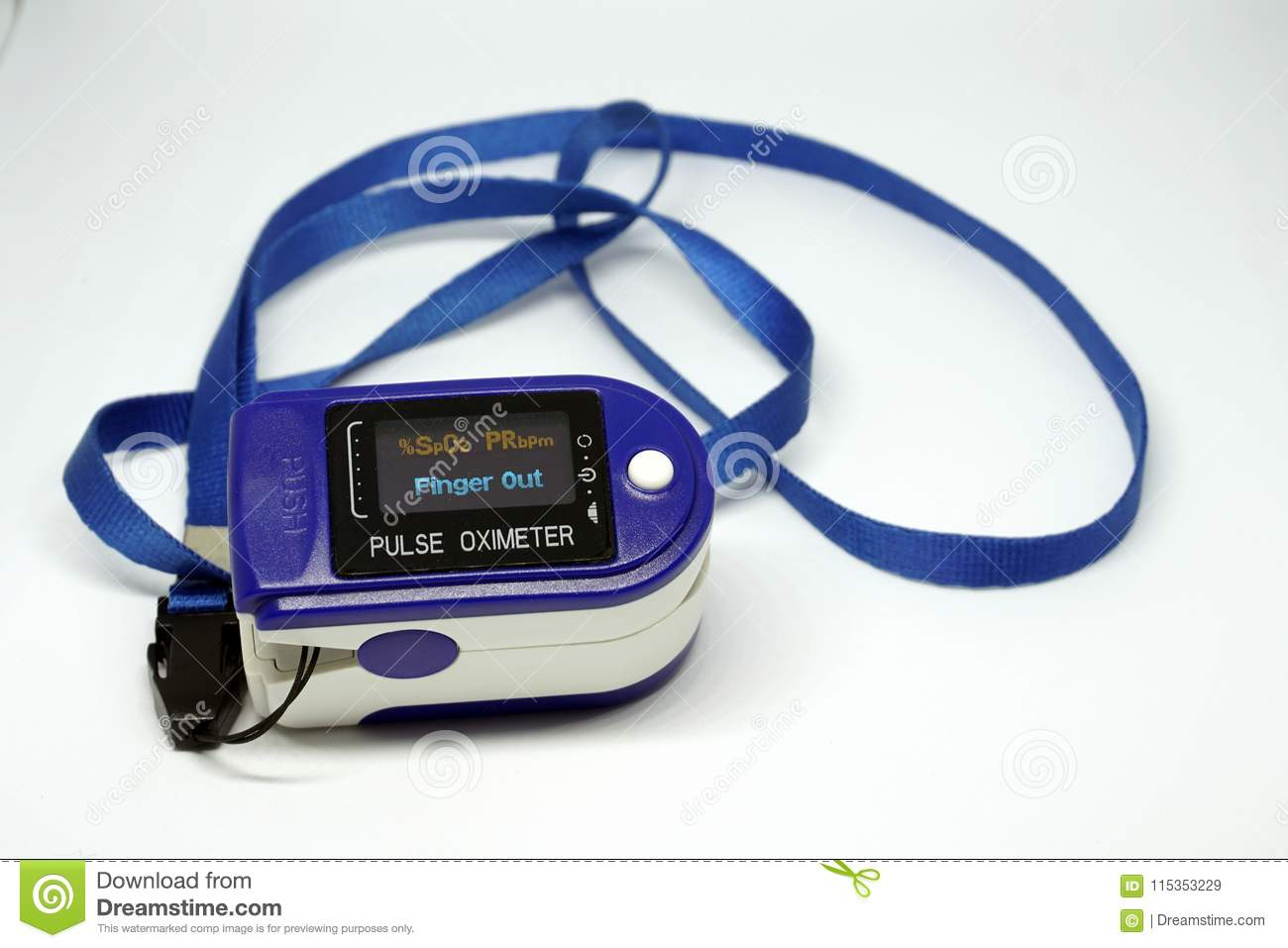 Pulse oximeter turned on   stock image  Image of measurement