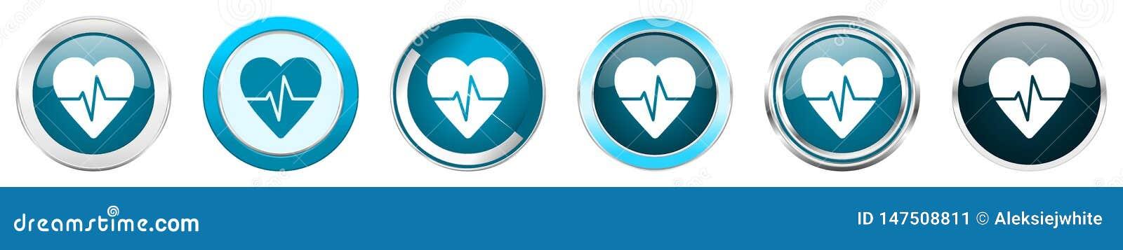 Pulsen försilvrar metalliska kromgränssymboler i 6 alternativ, ställde in av blåa runda knappar för rengöringsduken som isoleras