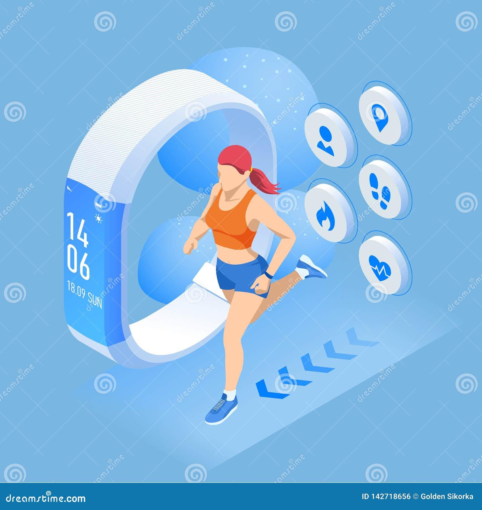 Pulsera o perseguidor isom?trica con un smartphone, atleta de la aptitud que corre al aire libre Infographics que activa y corrie