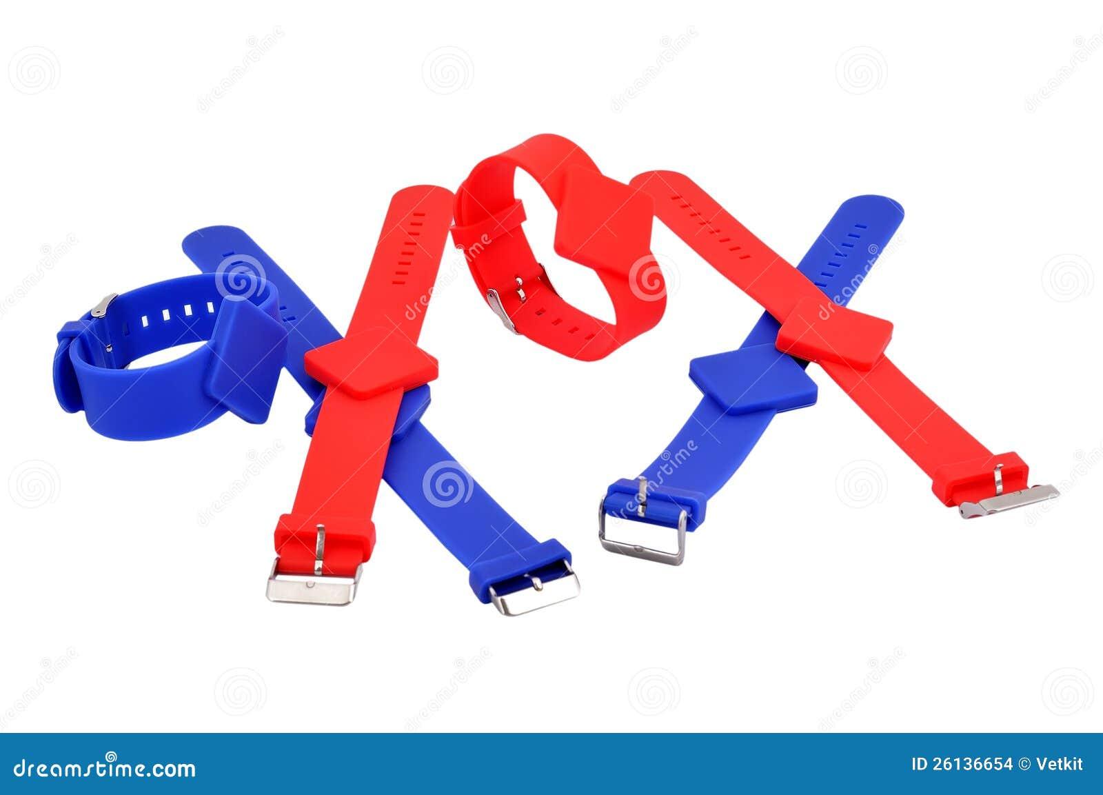 Pulseras rojas y azules de RFID