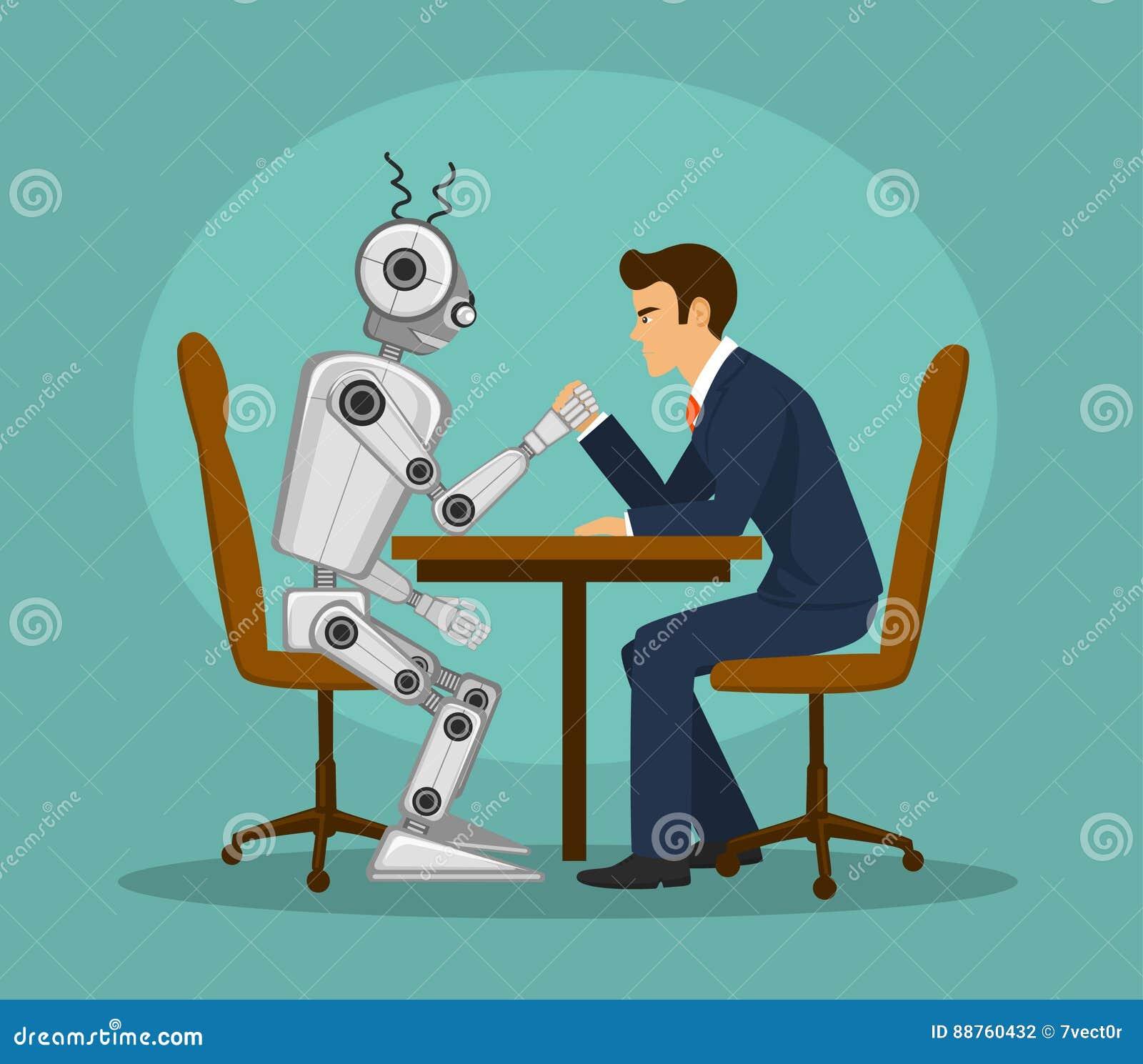 Pulso divertido del robot y del hombre de negocios, luchando inteligencia artificial contra la competencia humana