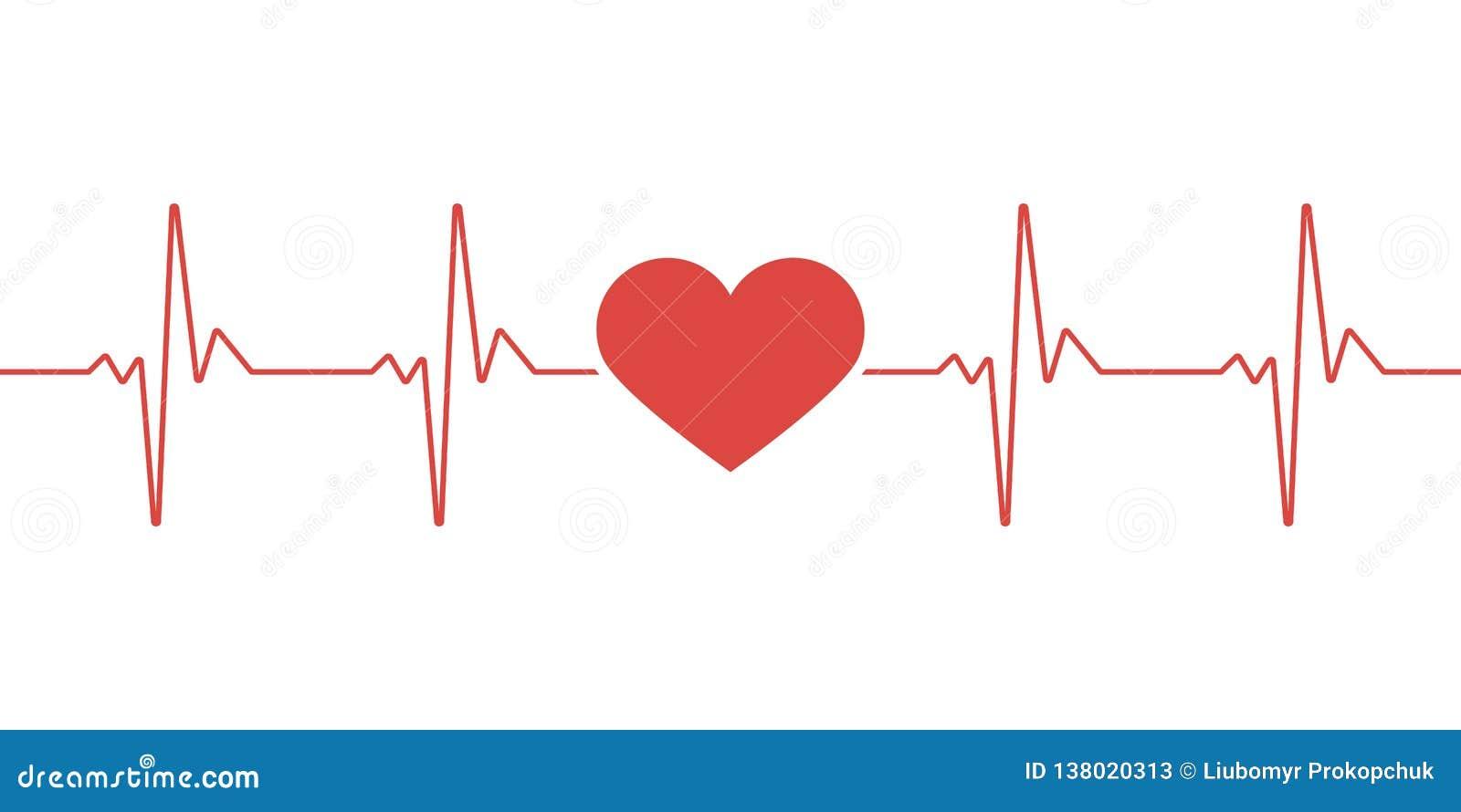Pulso do coração Cores vermelhas e brancas Pulsação do coração solitária, cardiograma Cuidados médicos bonitos, fundo médico Proj