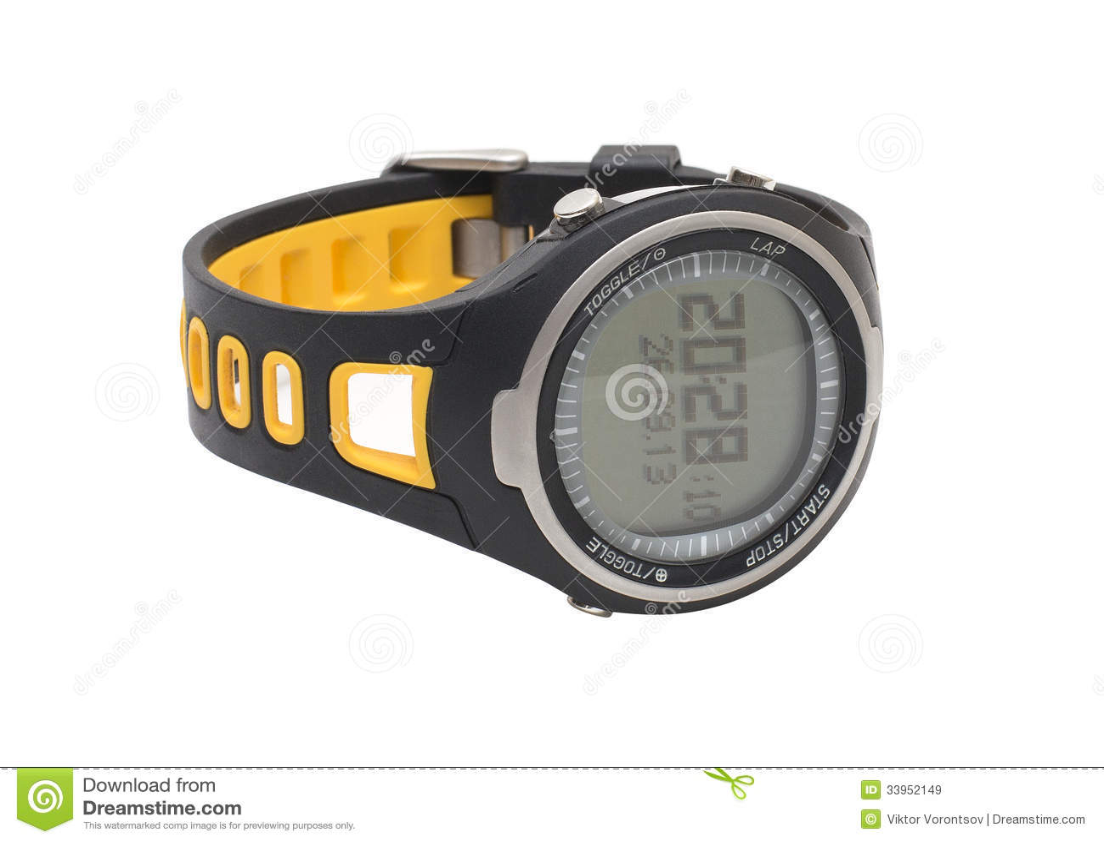 Pulsometer ρολόι αθλητικών χεριών που απομονώνεται στο λευκό