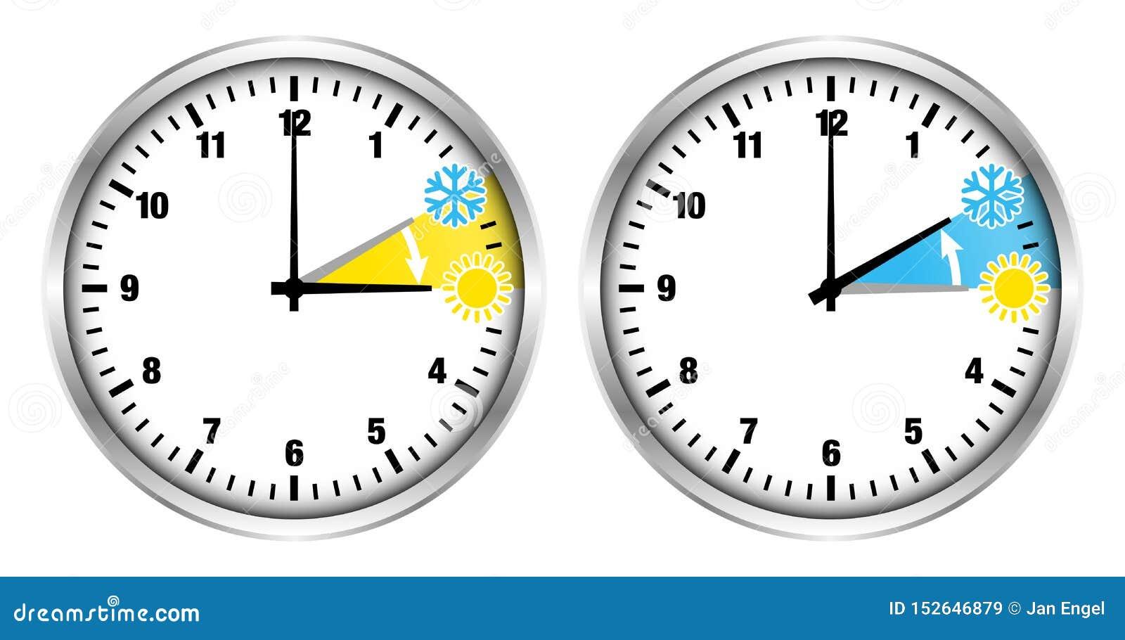 Pulsos de disparo de prata horas de verão e ícones e números pequenos do tempo de inverno