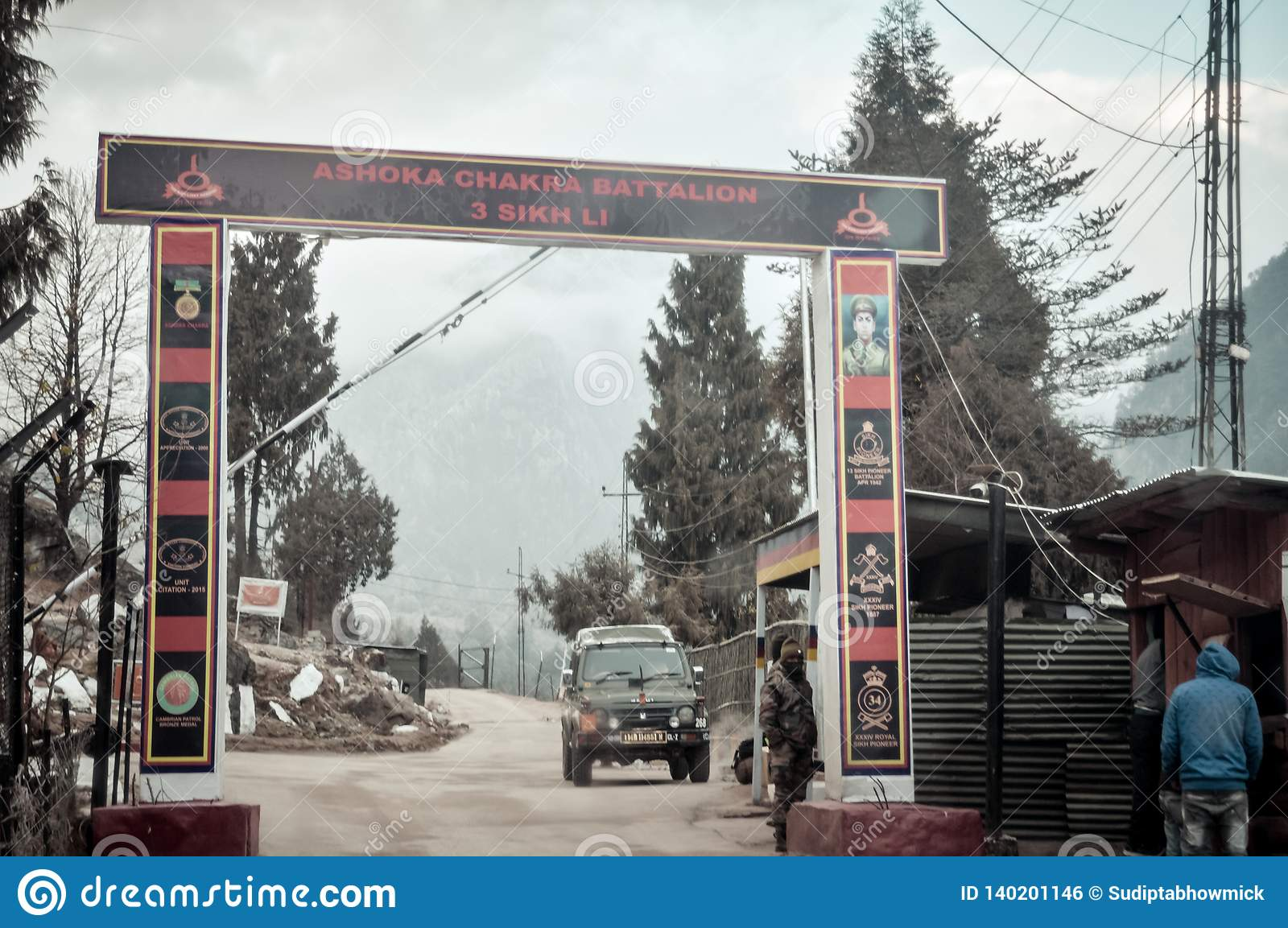 Pulwama, Jammu Srinagar National Highway, India 14 February 2019: Indian post after attacked by vehicle-borne suicide bomber by