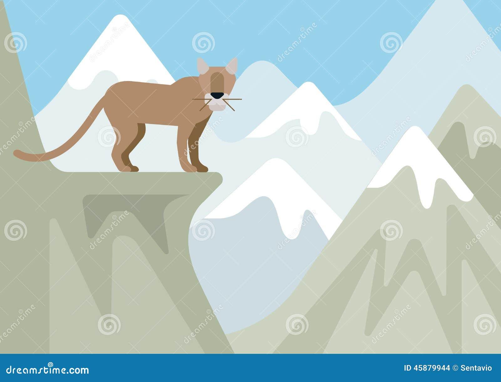 Puma rysia rysia rudy zimy kreskówki halny płaski dzikie zwierzę