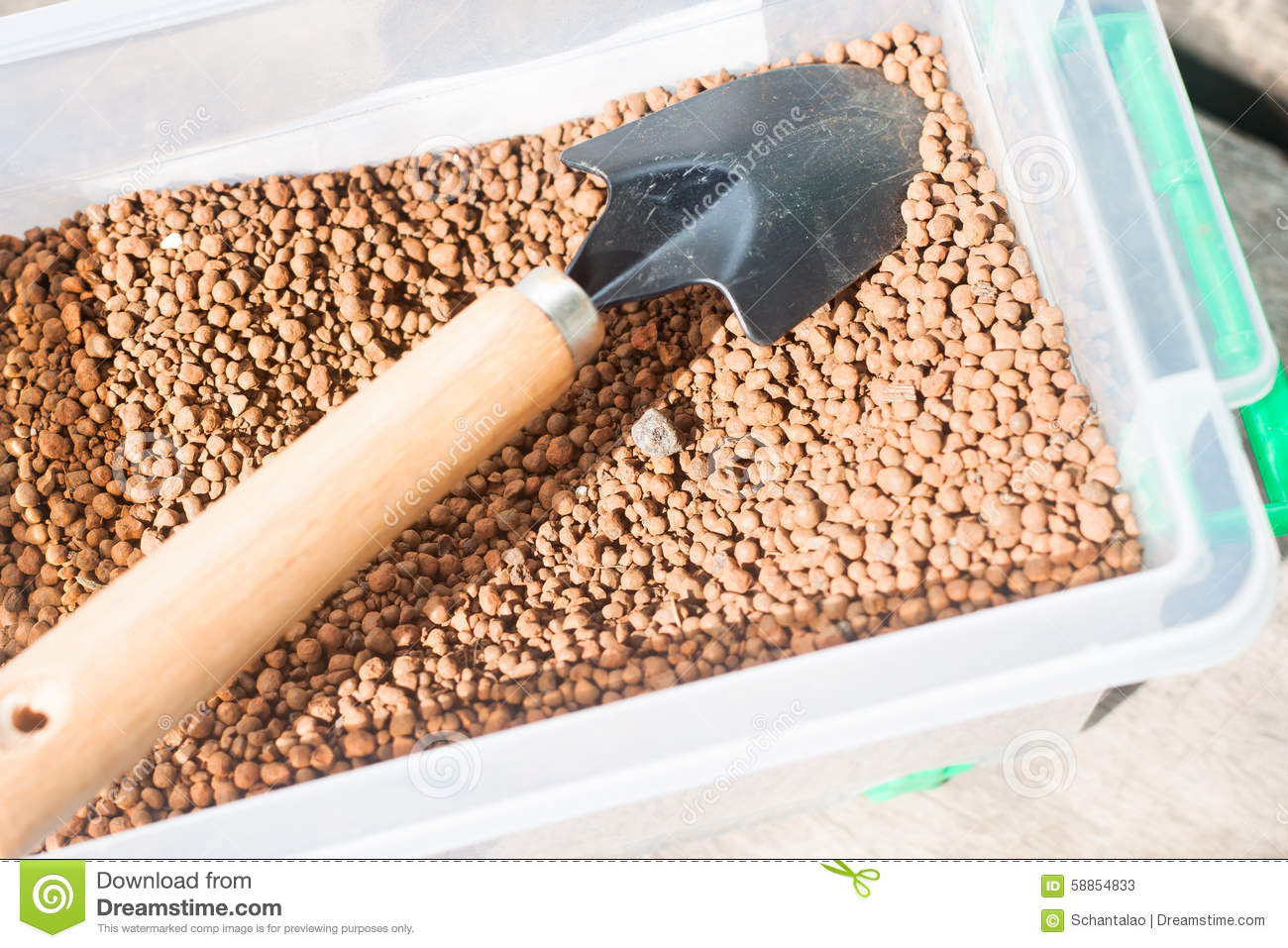 Pumice Pebbles In Bucket And Gardening Tool Stock Image Image Of