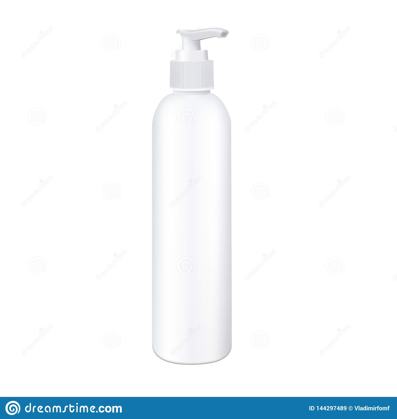 Pump head bottle. Photorealistic vector mockup ready for product design