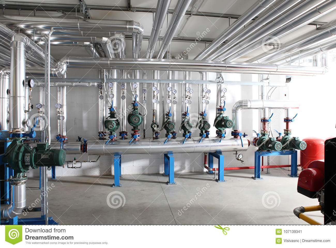 Pump , Manometer, Pipes And Faucet Valves Of Heating System In A ...