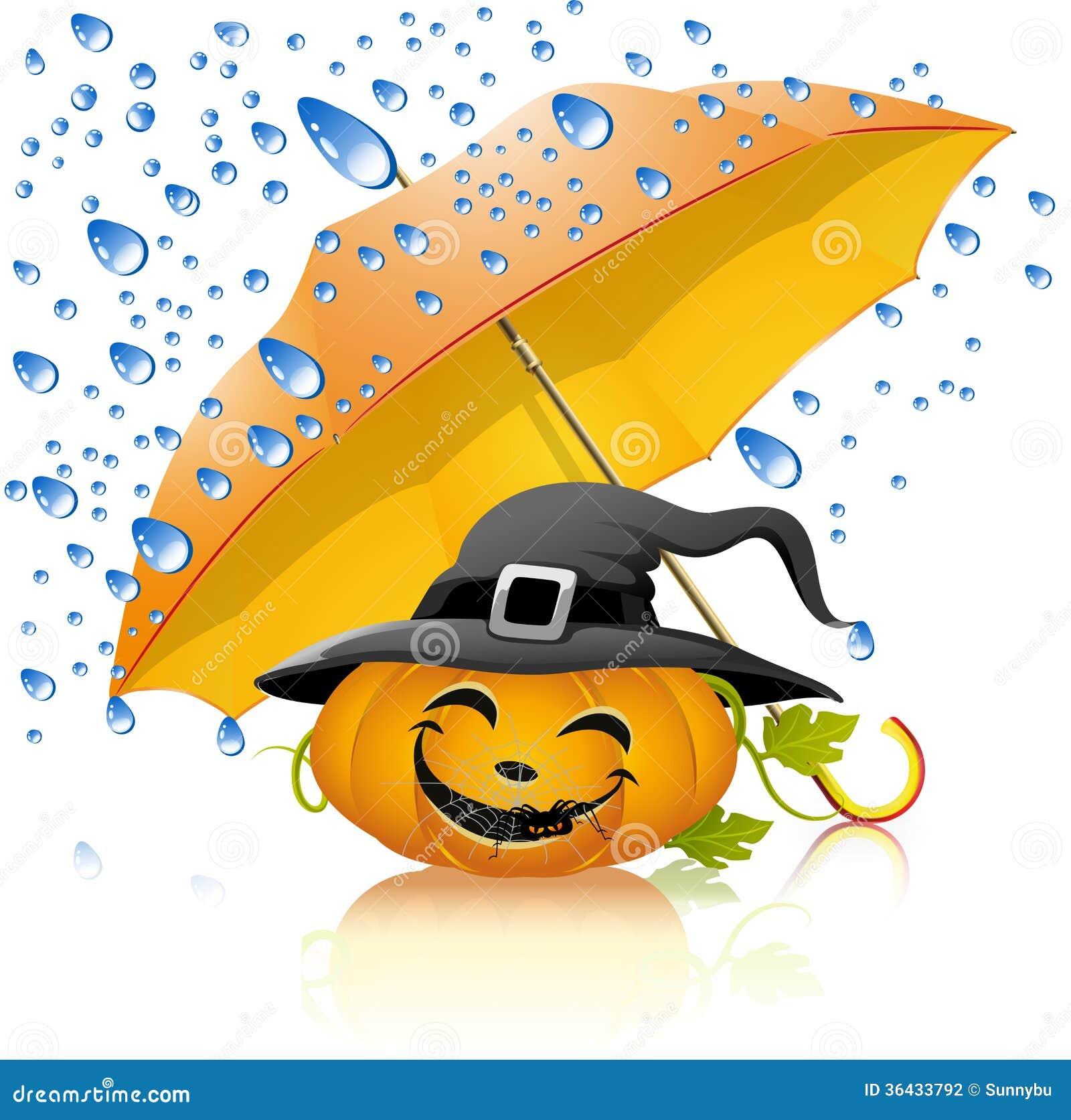 Pumpa under ett gult paraply med regn