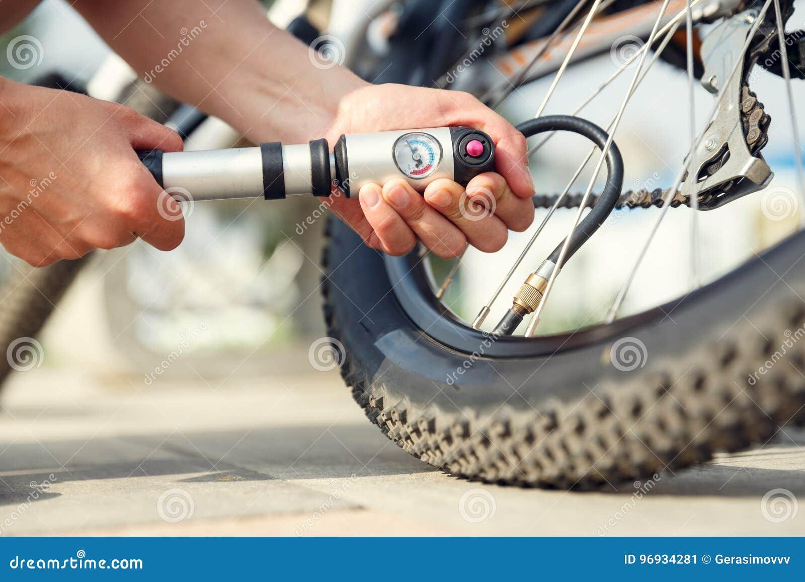 Pumping a bike tire