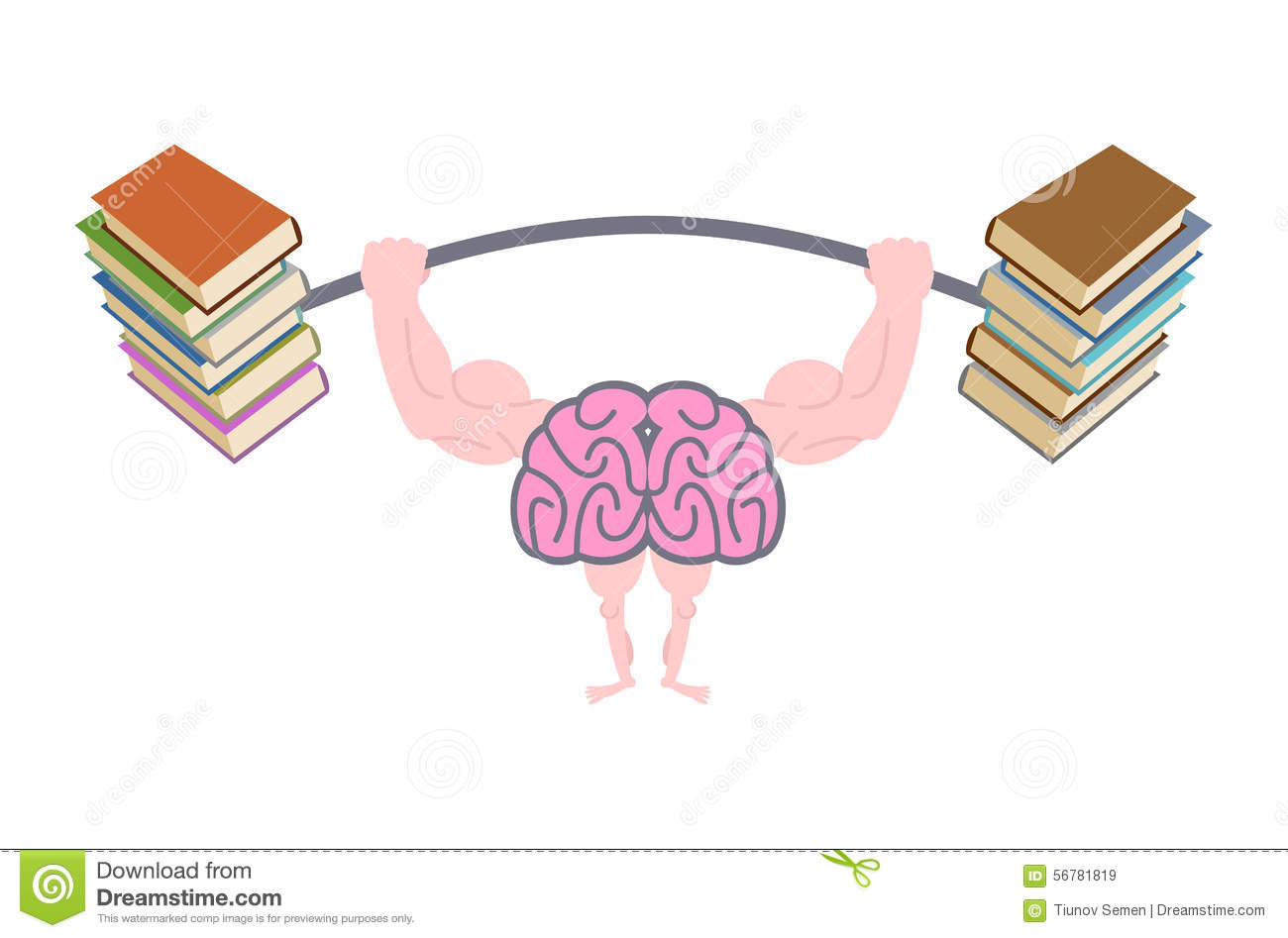 Pumping Up Brains. Strong Brain With Big Muscles Are Engaged In Stock ...