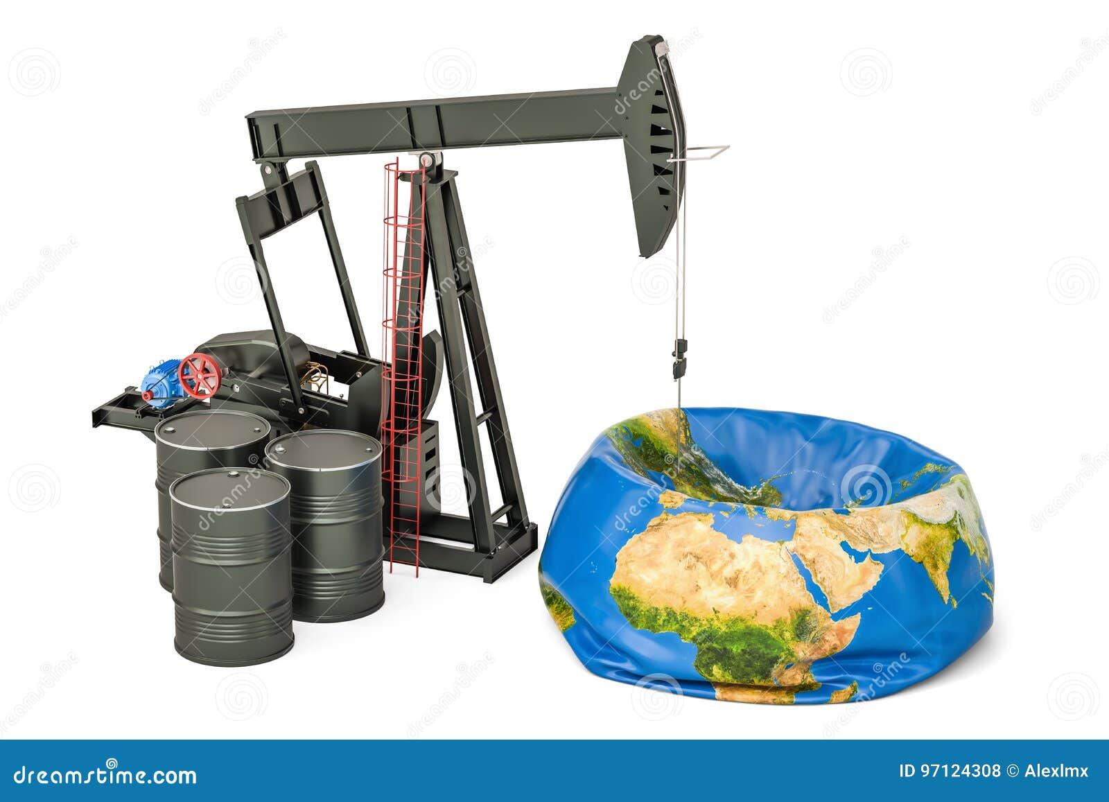 Pumpjack με τα βαρέλια πετρελαίου και την ξεφουσκωμένη γήινη σφαίρα, παραγωγή πετρελαίου
