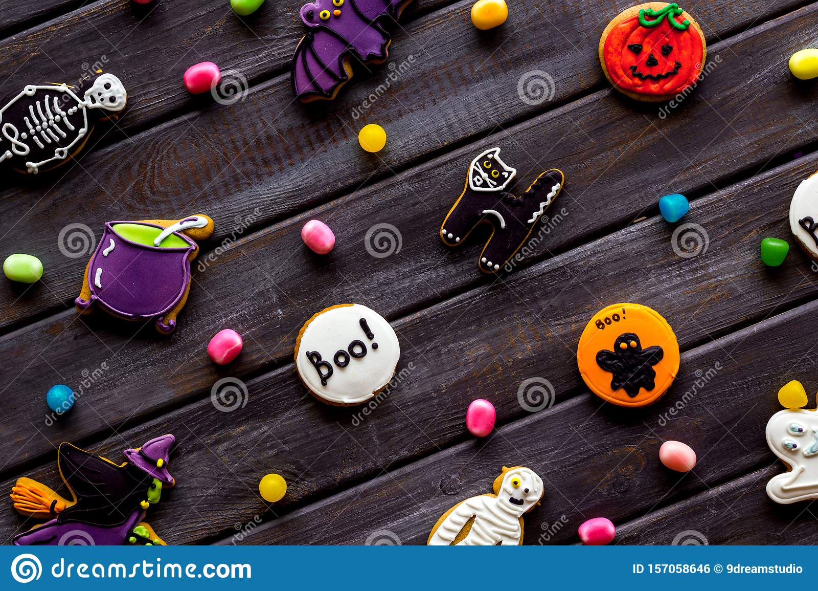 Halloween Decorations Pattern Wooden Background Top View