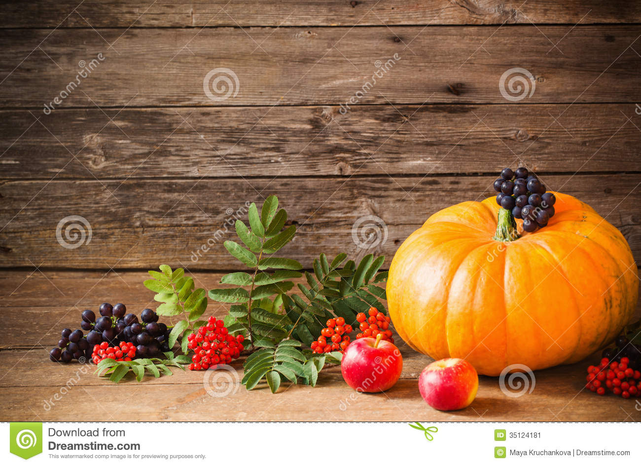 Pumpkin with berrie on wooden background