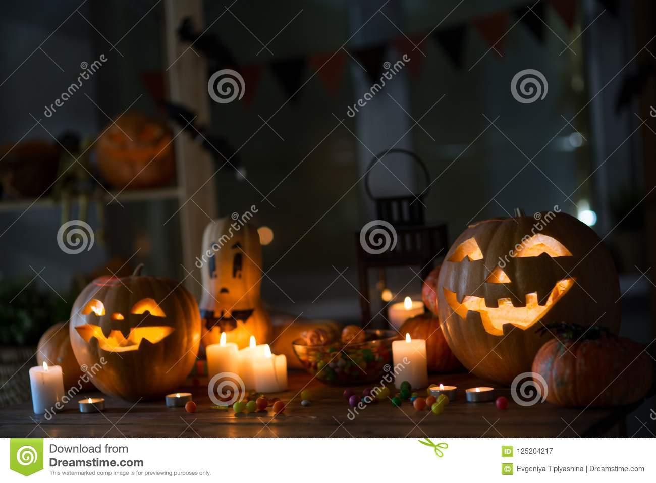 pumpkin and candy of halloween stock image - image of jack, fear