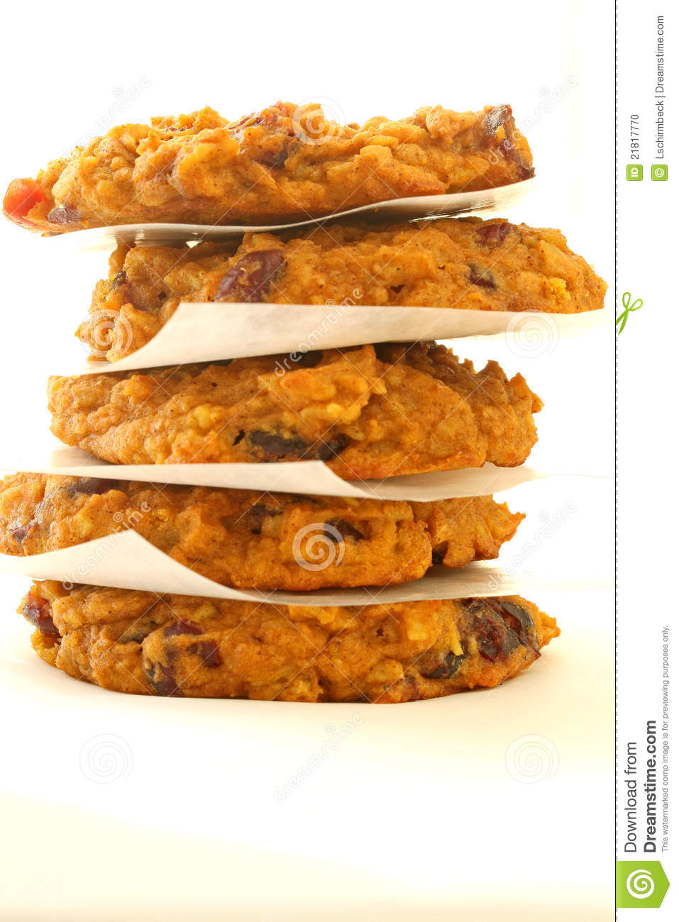 Pumpkin Cranberry Oatmeal Cookies Stock Photo - Image: 21817770