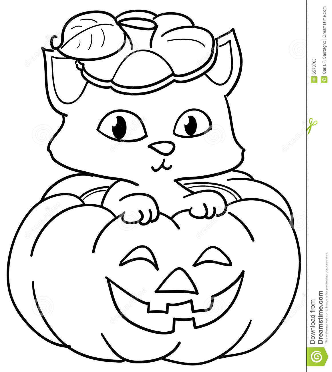 Pumpkin And Cute Cat Coloring Stock Vector
