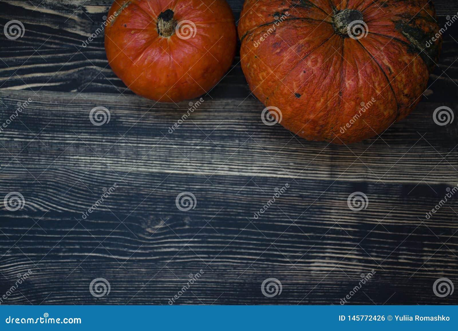 Pumpkin on a dark wooden background