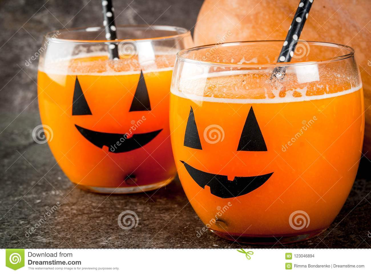 Pumpkin Drink For Halloween Party Stock Photo , Image of
