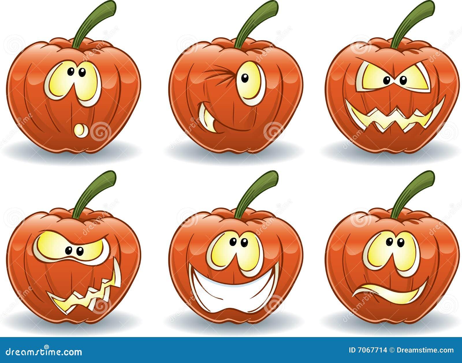 Pumpkin Emoticons Stock Images