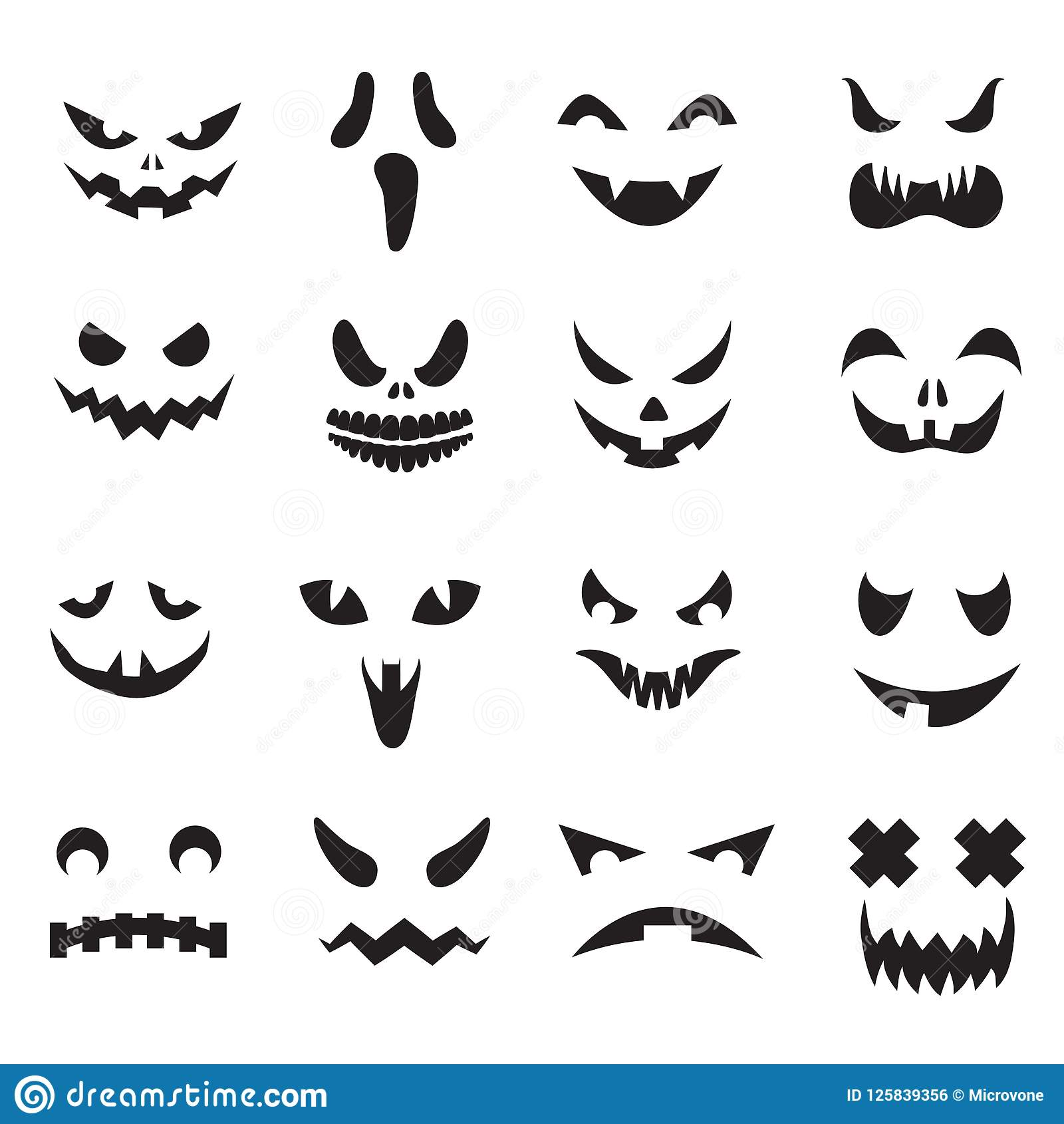 Pumpkin Faces Halloween Jack O Lantern Face Silhouettes Monster