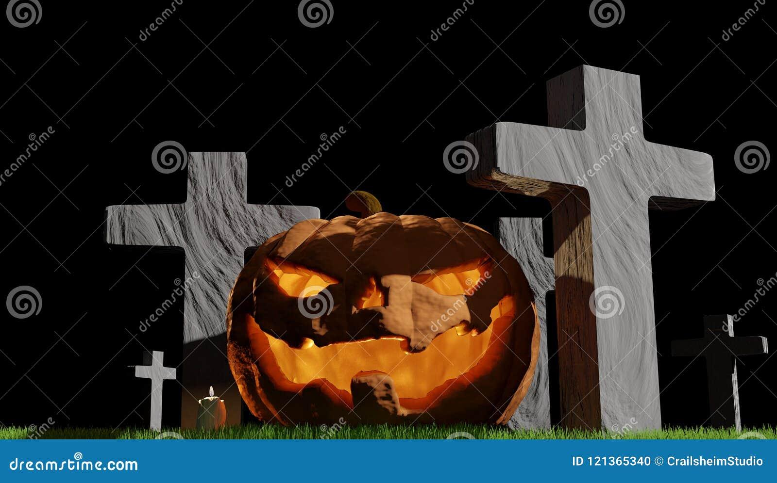 pumpkin halloween cemetery 3d-illustration stock illustration