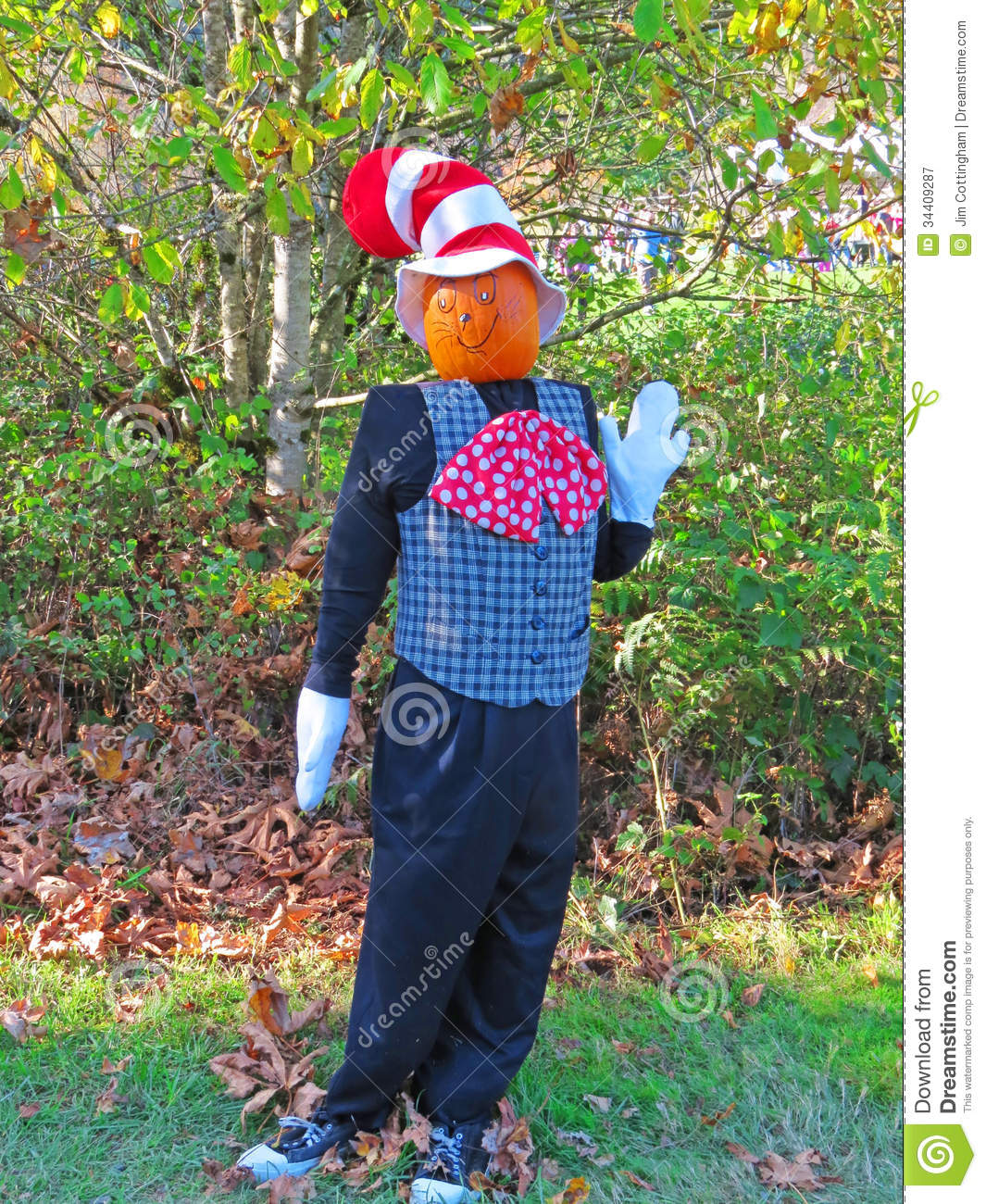 Pumpkin headed scarecrow royalty free stock photography for Striped and polka dot pumpkins