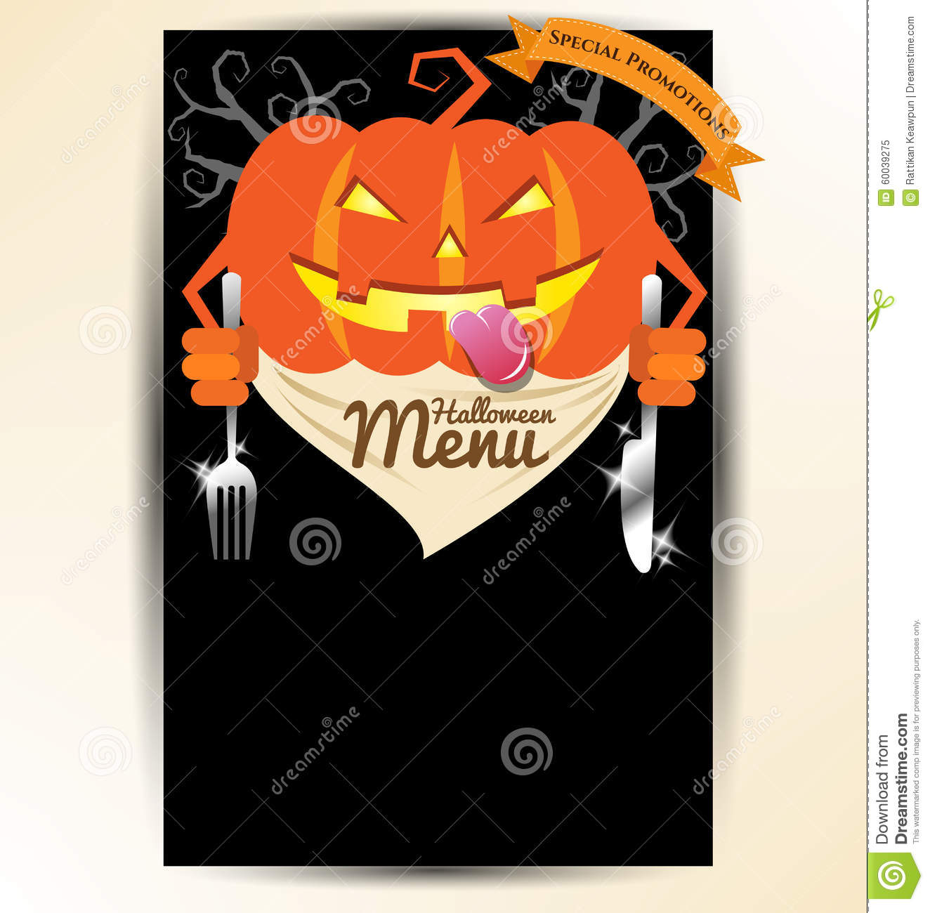 pumpkin holding spoon and knives for halloween party menu stock