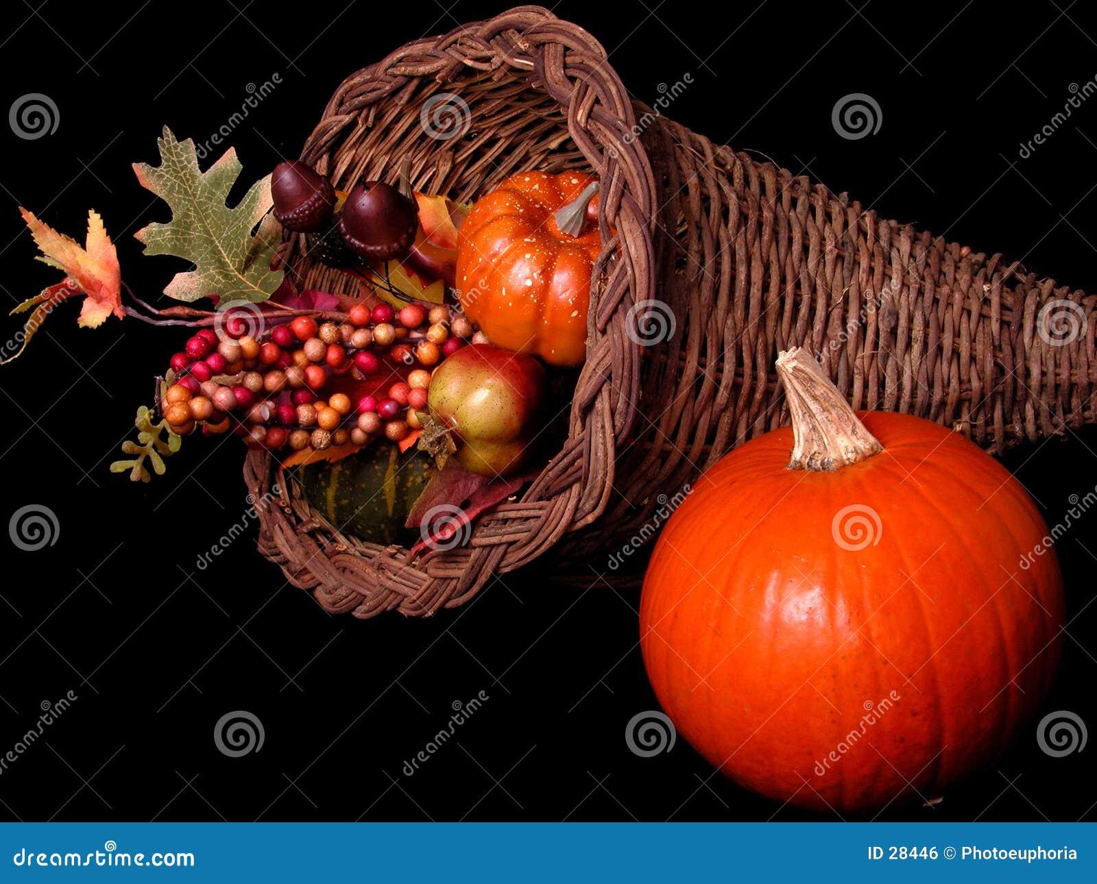 Pumpkin & Horn Basket Arrangement on Black