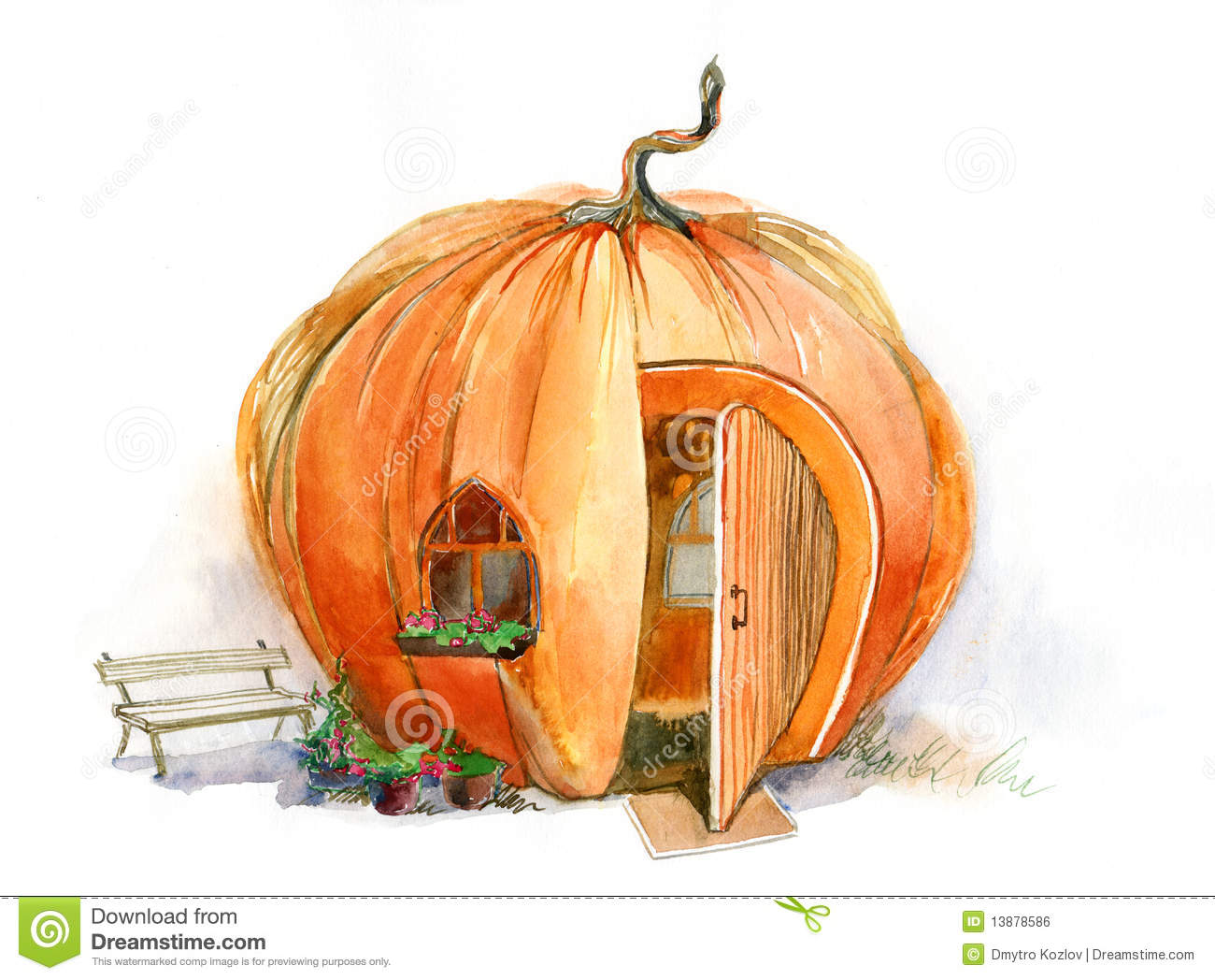 Painting Exterior Door Pumpkin House Stock Illustration Image Of Front Back