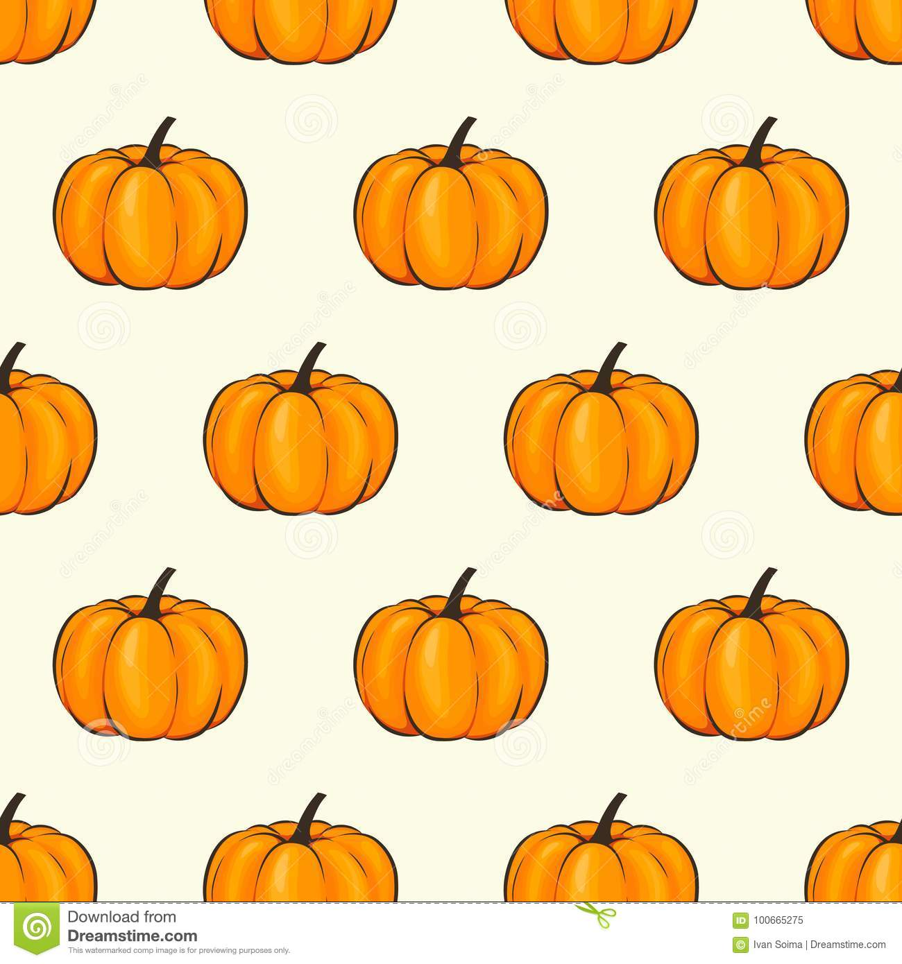Pumpkin Isolated Seamless Wallpaper Pattern Wrap Cartoon Style Vector Illustration On Autumn And Celebration For Stock Vector Illustration Of Line Healthy 100665275