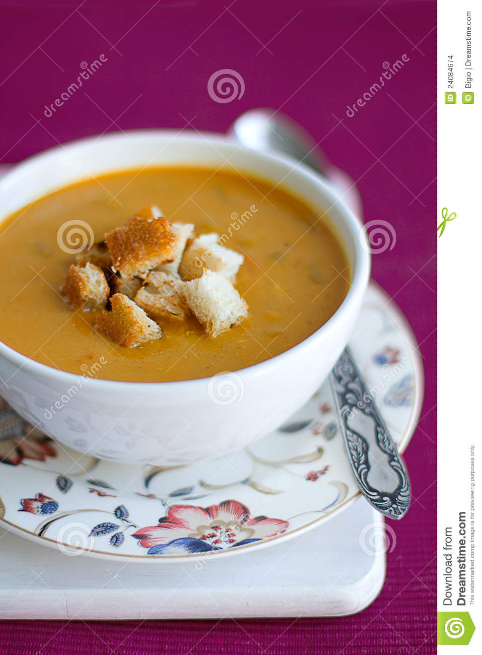 Pumpkin And Lentils Cream Soup With Croutons Stock Images - Image ...