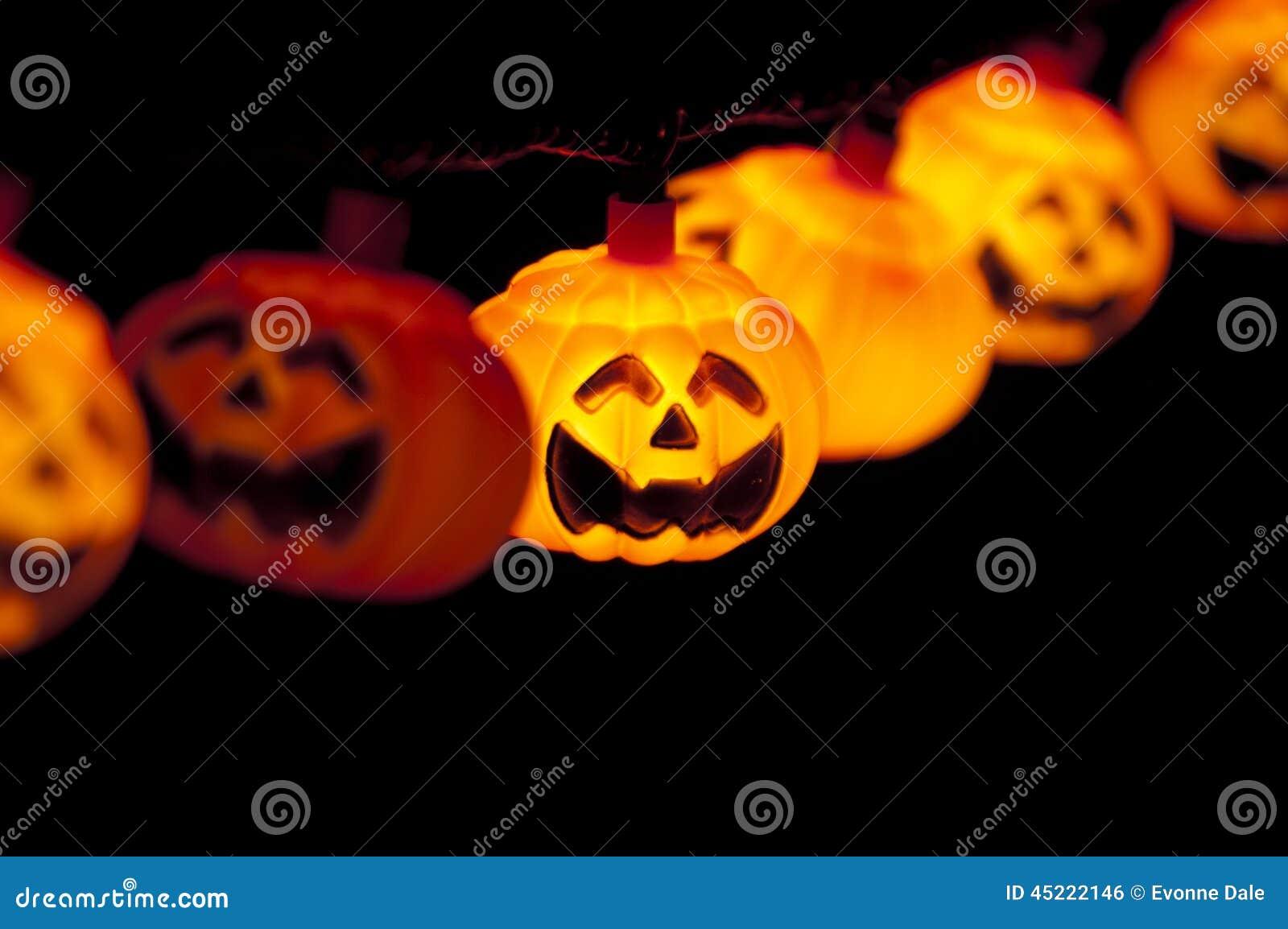 Pumpkin Lights Hanging Stock Photo - Image: 45222146