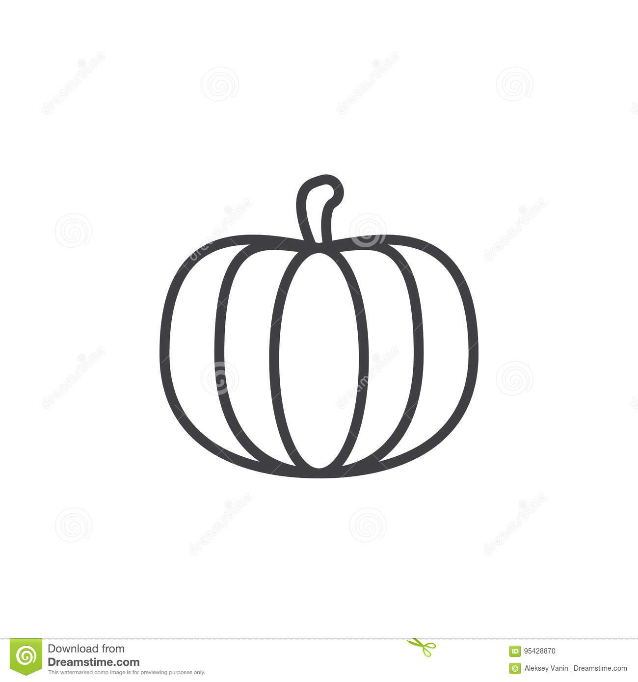 Pumpkin Line Icon Outline Vector Sign Linear Pictogram Isolated On