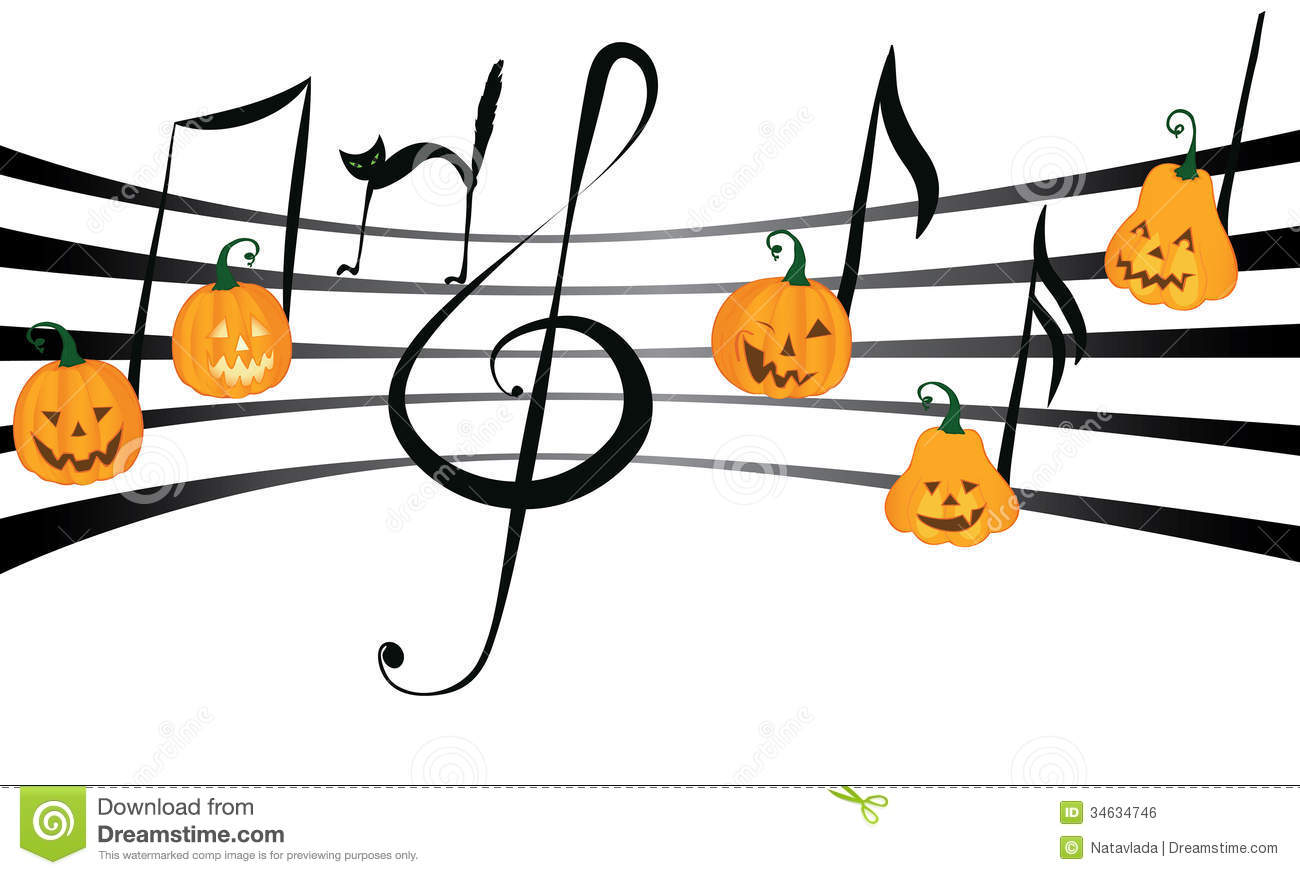 Pumpkin Music On Notes Staff Royalty Free Stock Image - Image ...