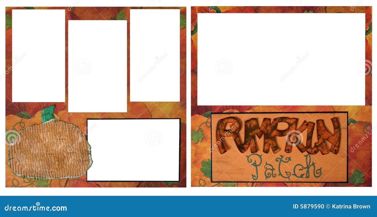 Photo Page: Pumpkin Patch Digital Scrapbook Page Stock Photo