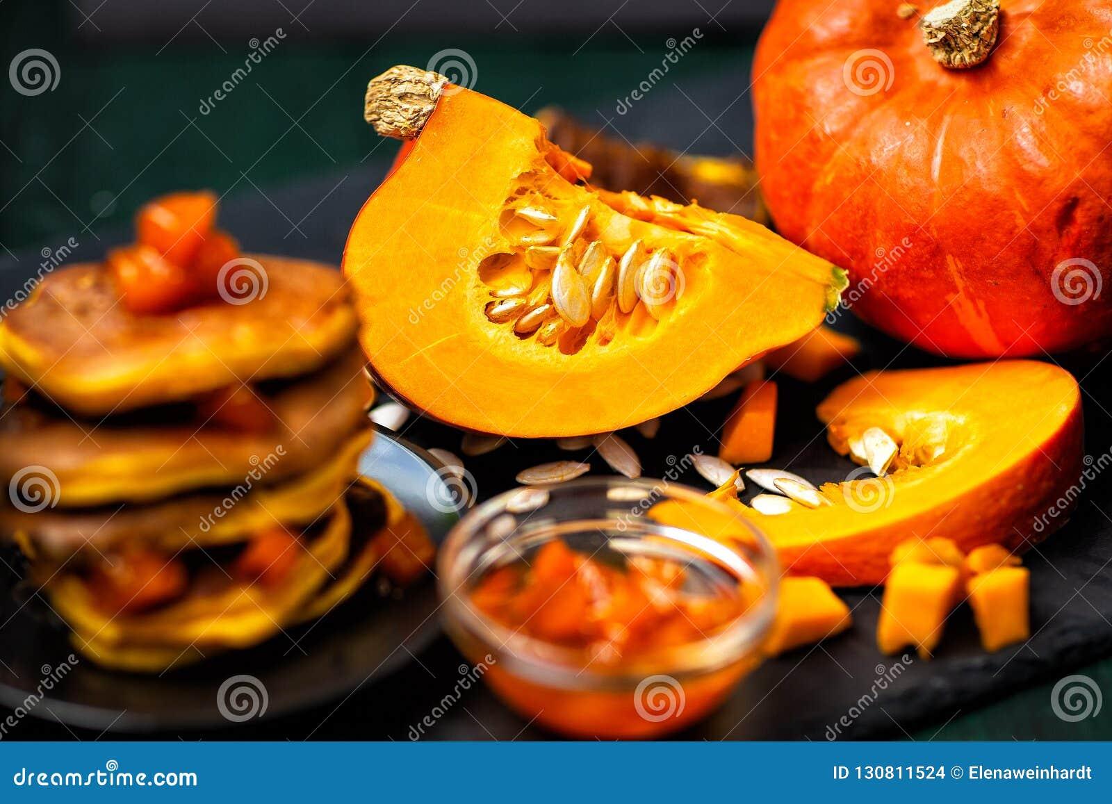 Pumpkin and pumpkin dishes.Jam and pumpkin pancakes.