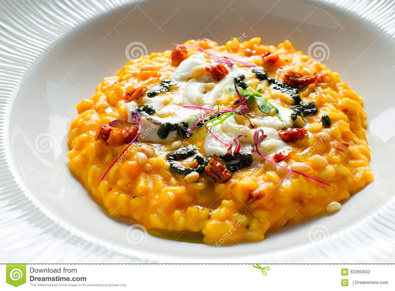 Pumpkin Risotto With Sun-dried Tomatoes Stock Photo ...